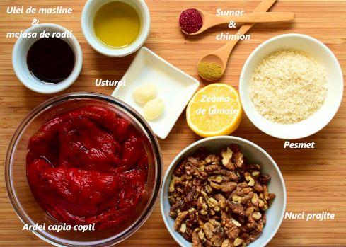 Ingrediente muhammara: ardei capia copti, nuci prajite, pesmet, zeama de lamaie, usturoi, ulei de masline, melasa de rodii, chmion, sumac, fulgi de ardei iute