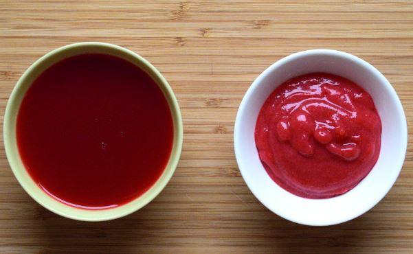 Suc de coacaze rosii vs piure de coacaze rosii